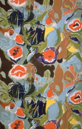 Summer Flowers, Ivon & John Hitchens 1961 Large, semi-abstract flower heads and leaves on blue background