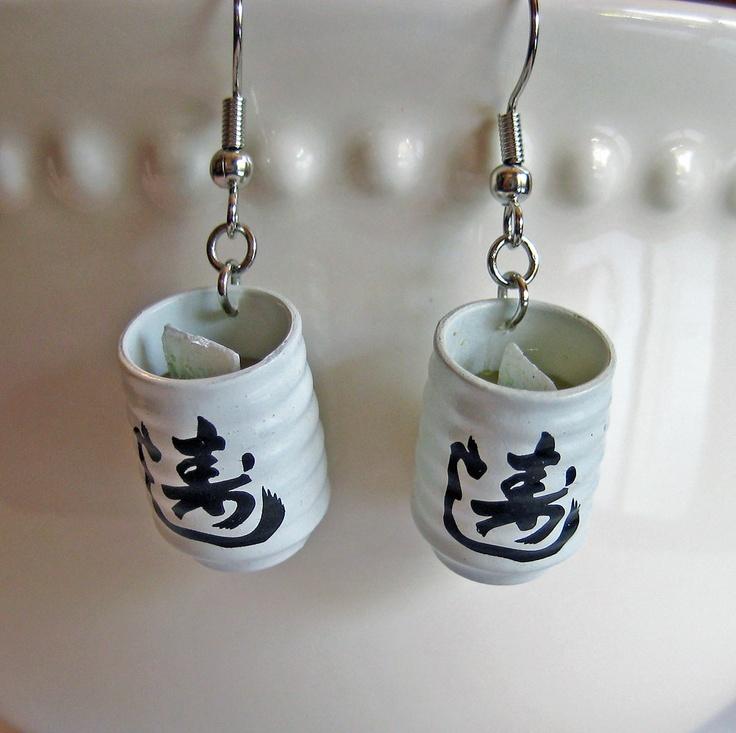 Green Tea Earrings - Food Jewelry. $12.00, via Etsy. - how nice ^^