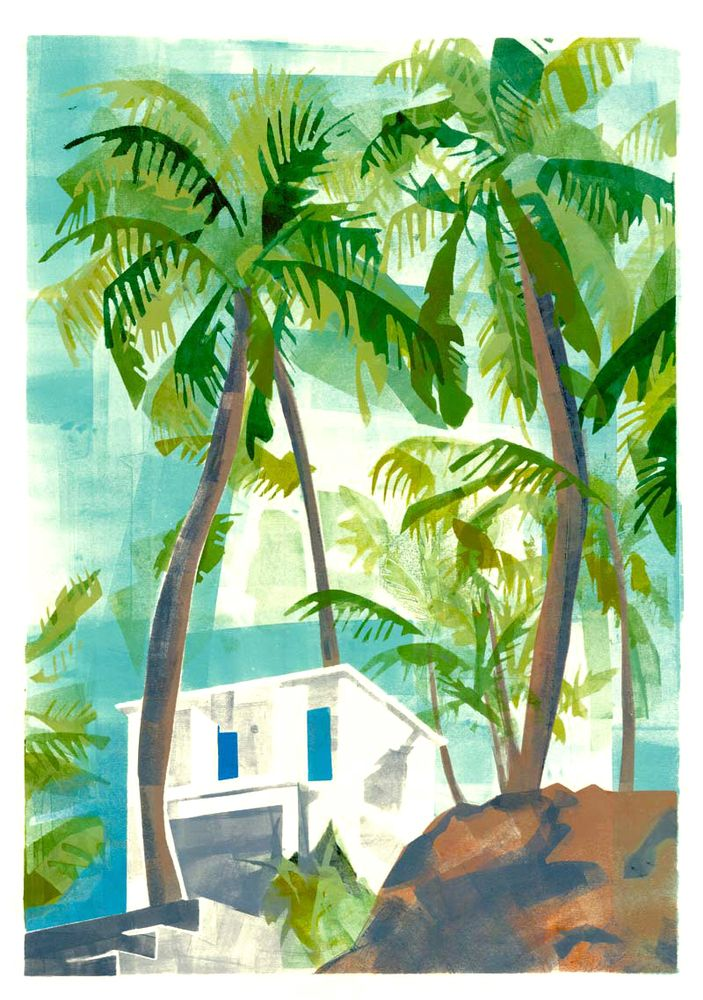 Palm Trees Print  A little white house amongst the trees in Goa, India. Limited Edition Print, run of 10.Size: 42 x 59.4 cm (A2 with 2 cm white border)
