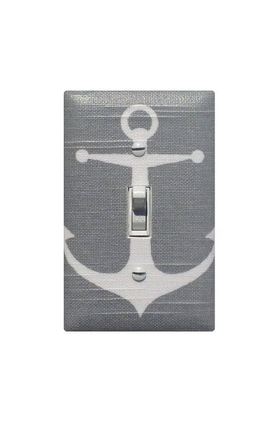 SALE Gray Anchor Light Switch Plate Cover / Baby Boy by SSKDesigns