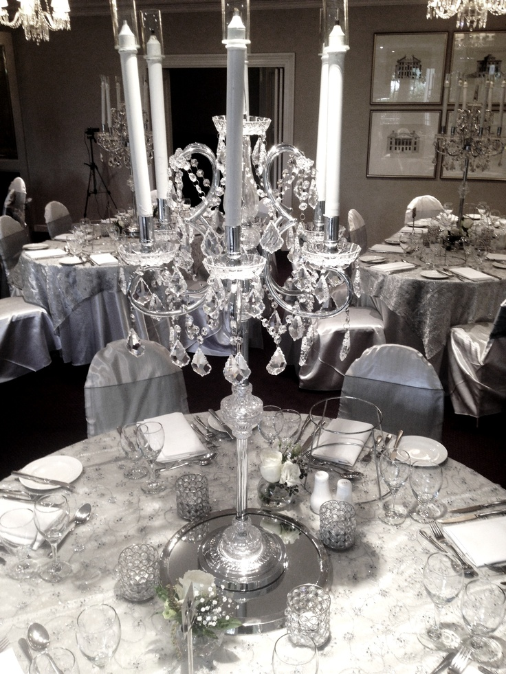 Going for a classic look? You can't go wrong with silver and crystals. Our stunning beaded cloths perfectly compliment our crystal centerpieces #wedding #crystal #centerpiece #wedding #hire  www.decorit.com.au (18)