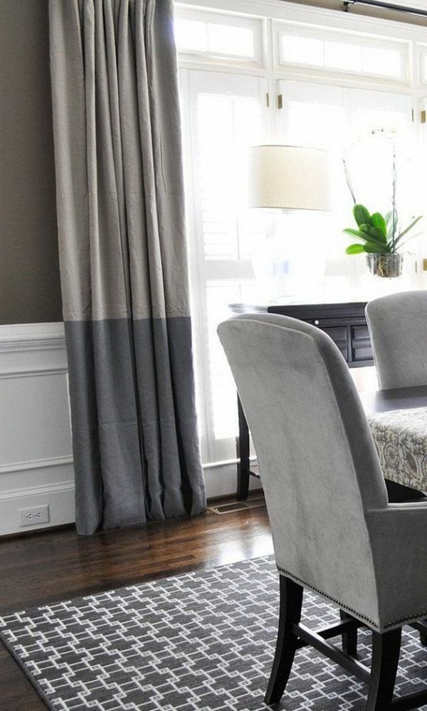 Stylish two - tone gray shades blinds living