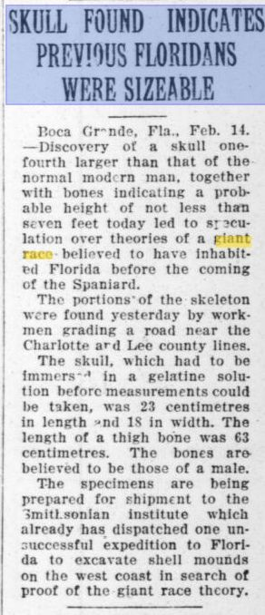 Strange Ancient Skulls of Giants Discovered in Southern Florida