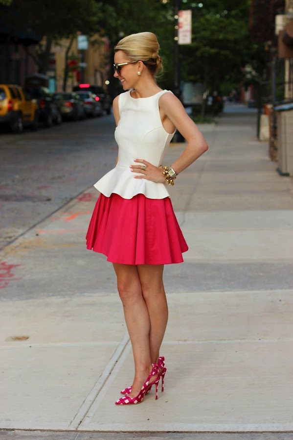 blair eadie: Shoes, Full Skirts, Polka Dots, Outfit, Miu Miu, The Dresses, White Peplum Tops, Red Skirts, Peplum Dresses