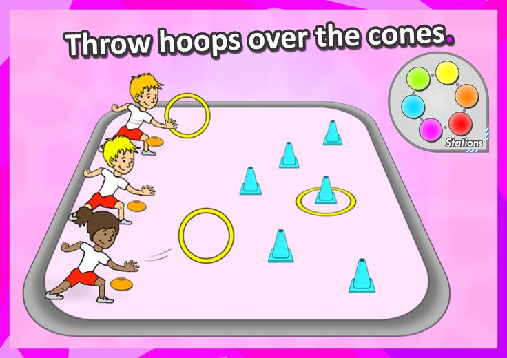 FREE PE STATION ideas • Throw hoops over the cones • Try out 6 challenging and exciting sport stations in your next pe lesson