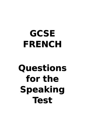 GCSE French - Speaking questions