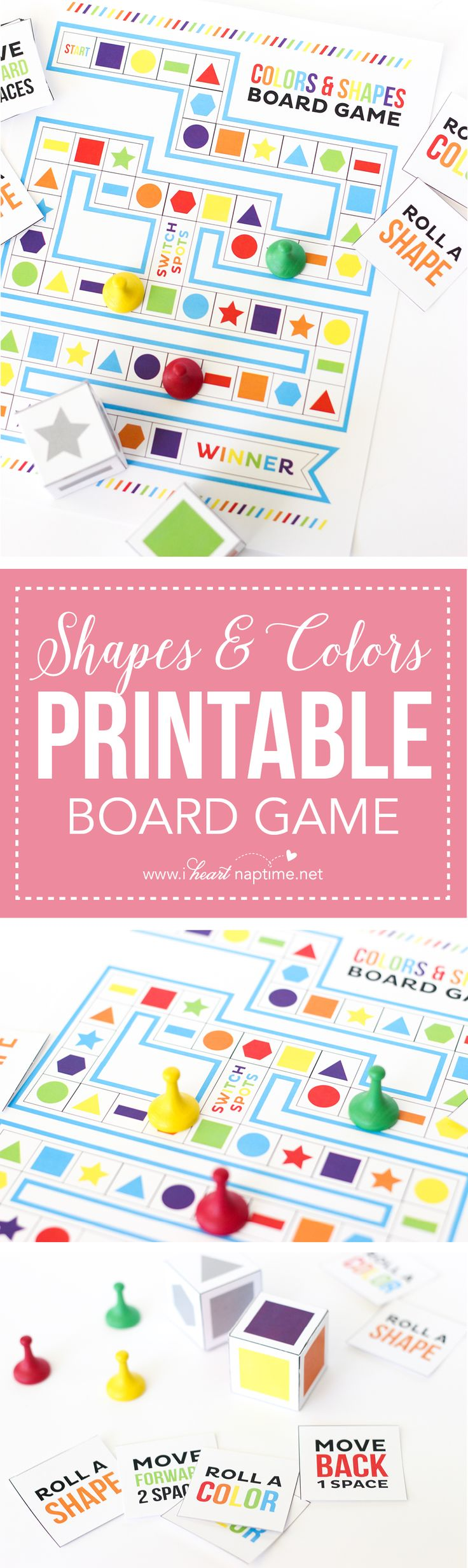 Shapes and Colors Printable Board Game - the perfect summer boredom buster! Easy to print at home, and fun for the whole family!