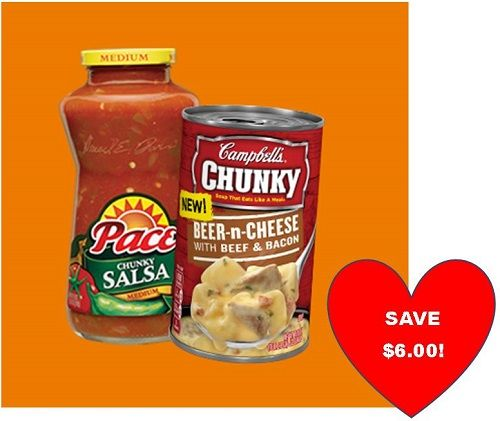 """Super Bowl Time! Save $6.00 on Pace and Campbell's Chunky Soups!   Super Bowl Time! Save $6.00 on Pace and Campbell's Chunky Soups! [adrotate banner=""""51″]Super Bowl parties are so much fun! I love when I can save when I buy all the items I need to make the yummy snacks that we enjoy during the game! Check out the great deal from Pace and ...  #ExtremeCouponing #Coupons #Couponing  Visit us at http://www.thecouponingcouple.com for more great posts!"""