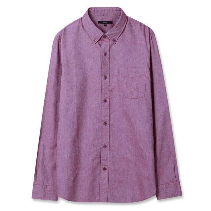 Topten10 Unisex Oxford Buttondown Modern Red Solid Formal Cotton Dress Shirts #Topten10