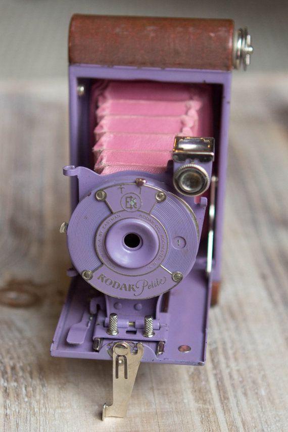 Vintage Lavender Kodak Petite Folding Camera with Original Bellows and Case - Rare
