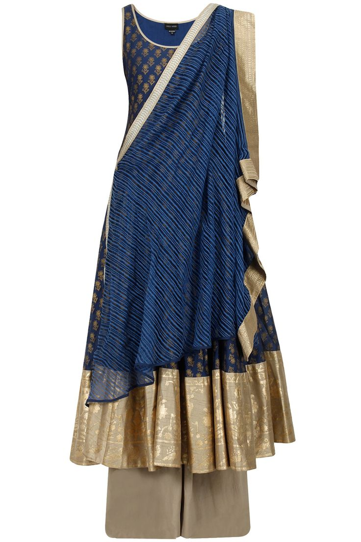 ANJU MODI Dark blue floral motifs anarkali set Product Code - ANJC4T0614427 Price - $ 544   Description This set features a dark blue cotton silk flared anarkali with gold floral motifs all over and printed wide border.  It is styled with matching textured cotton net pre stitched drape dupatta and beige cotton palazzo.  COMPOSITION: Cotton silk, cotton net, cotton. Lining: Shantoon.  CARE: Dryclean only.