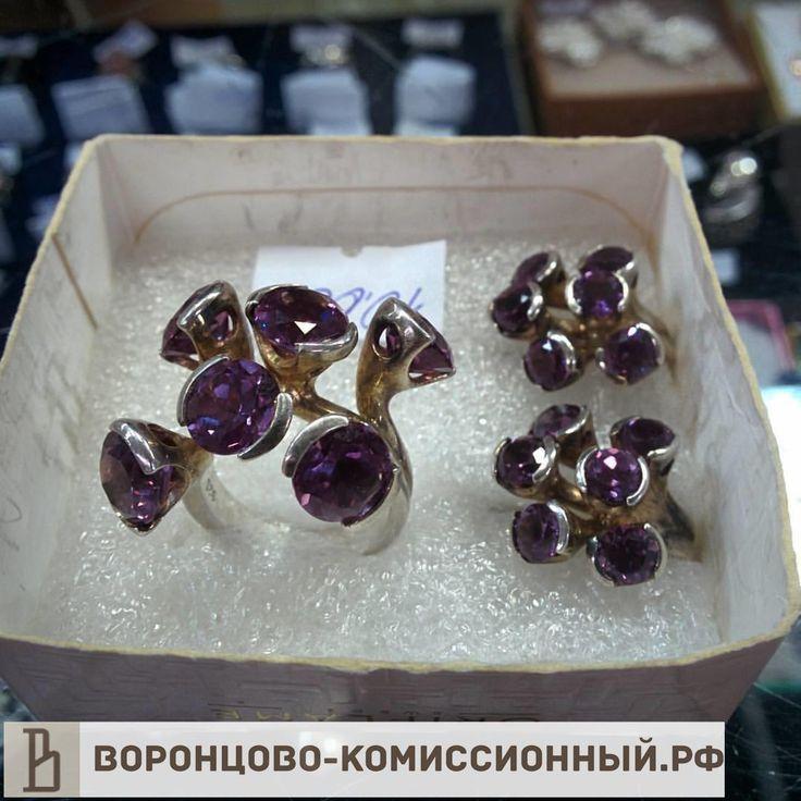 Кольцо + серьги, серебро 925, вставка александрит, #серебро925пробы, #серебро, #украшения, #серьги, #кольцо
