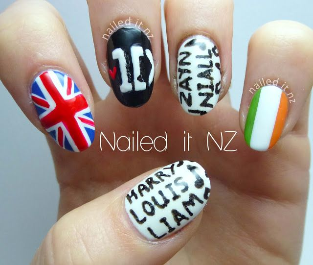 Nailed It NZ: One Direction nail art (finally!) http://nailedit1.blogspot.co.nz/2013/03/one-direction-nail-art-finally.html