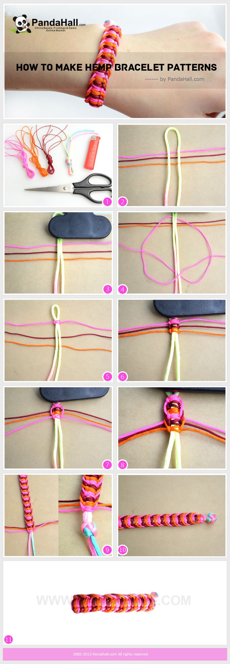 Three-color overlapped overhand knots - nice effect & a little bit different. Detailed written instructions at this site. #handmade #jewelry #knotting #macrame