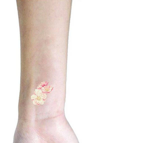 Cherry blossom small temporary tattoo / floral illustration