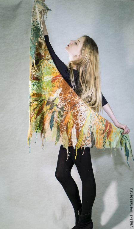 Купить Шаль «Разнотравье» - разноцветный, цветочный, шаль, шаль вязаная, шаль ручной работы