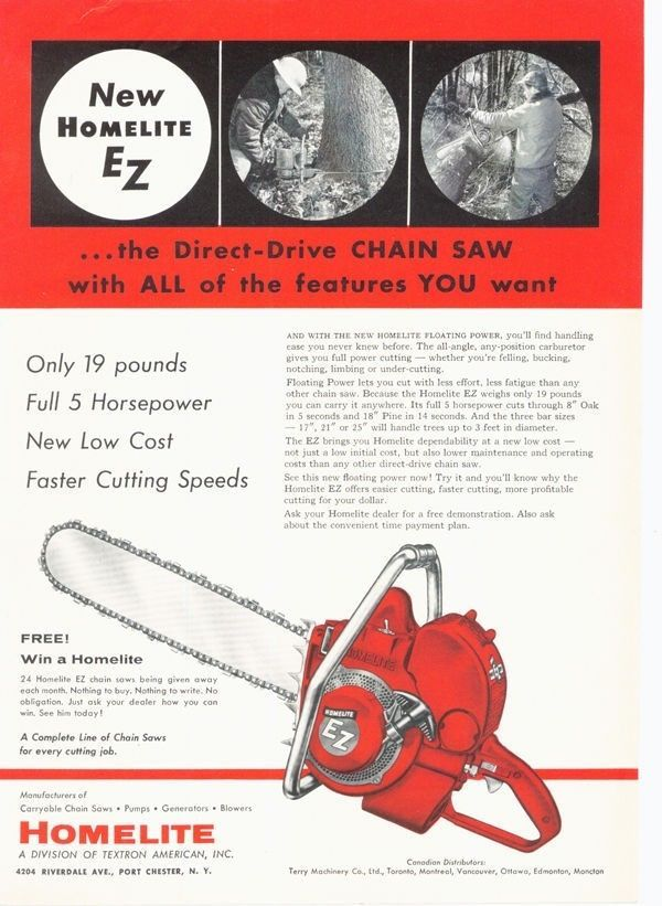 1956 HOMELITE CHAINSAW WOOD FOREST TREE MOTOR CHAIN LOG