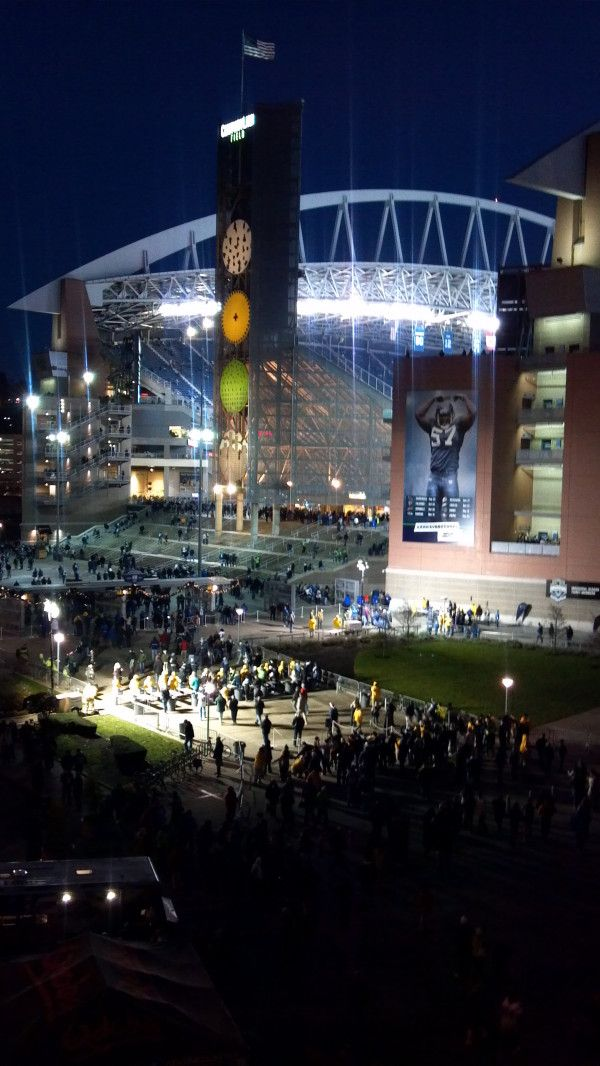 View of Century Link Field from the PayScale deck. Getting ready for MNF Seahawks vs. Saint Louis Rams!