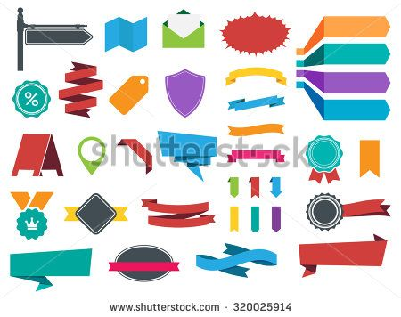 This image is a vector file representing Labels, Banners and Stickers collection set./Ribbons Banners Labels Stickers Vector Set/Ribbons Banners Labels Stickers Vector Set