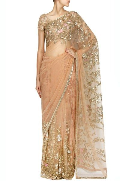 Sarees, Sarees, Clothing, Carma, Peach floral thread and sequins embroidered saree