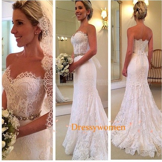 A line lace wedding dress / lace vintage wedding dresses / bridal dresses