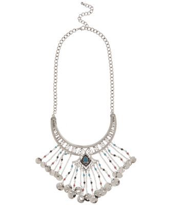 Silver and Bead Tassel Necklace