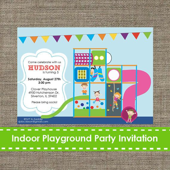 Indoor Playground Invitation Inflatable  Bouncy by SparklingStudio