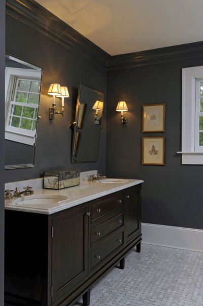 Dark Gray Bathroom Walls With The Dark Wood Vanity And Fixtures And White Accents