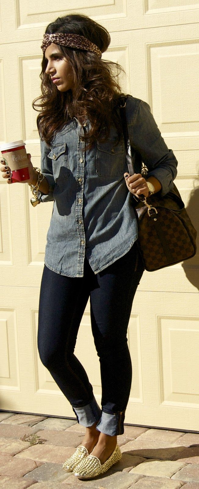 Denim on denim, gold studded flats & LV | The Chicest Ambry: Trendy Trends