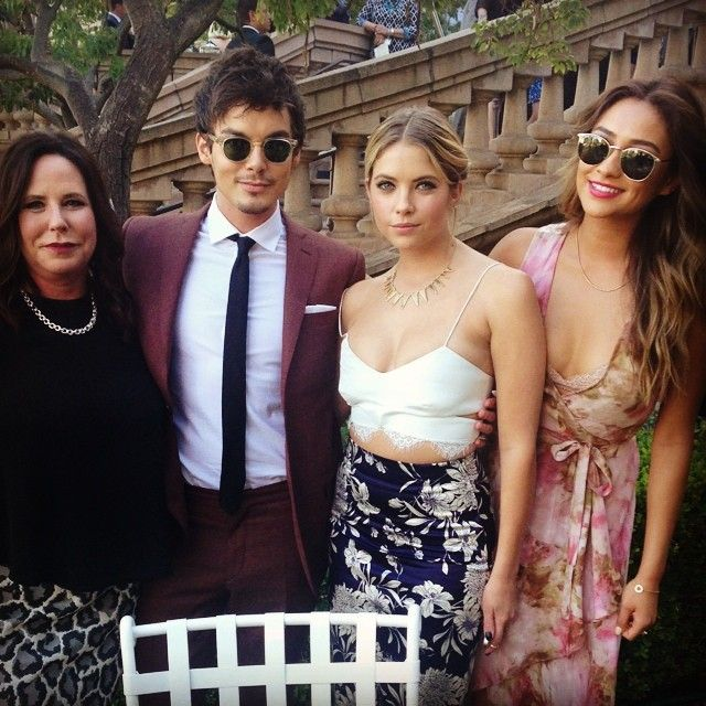 I. Marlene King, Tyler Blackburn, Ashley Benson, and Shay Mitchell