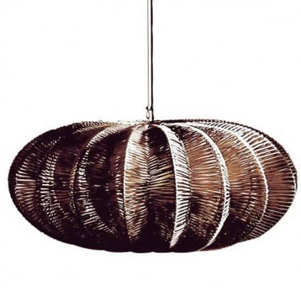 """The Costa Verde Pendant - Large by Roost Modern shapes are rendered casual with these wicker hanging lamps, constructed of natural lamp fibers woven around a wire frame. Each gourd-shaped lamp includes a rounded diffuser to soften the bulb's glow. Fifteen foot cord set with standard plug end. 40 watt max.  31"""" Width x 14"""" Height One 40 Watt Max Incandescent bulb  (Not included)Plug in cord."""