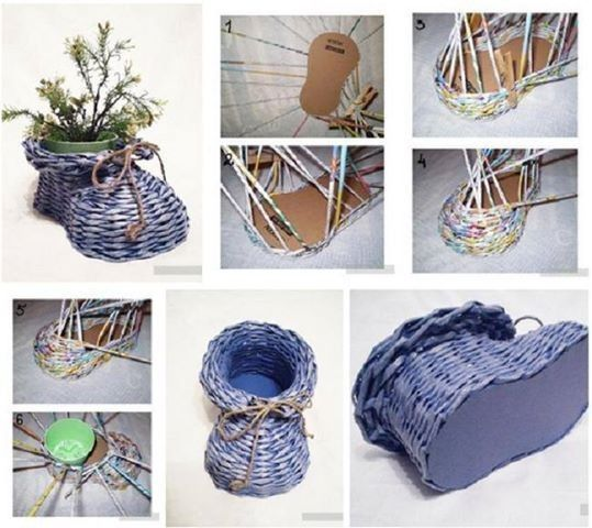 This is a good way to reuse newspaper, spray the color you like for finishing. Materials: Newspaper Scissors Cardboard Vase Twine cord Color spray