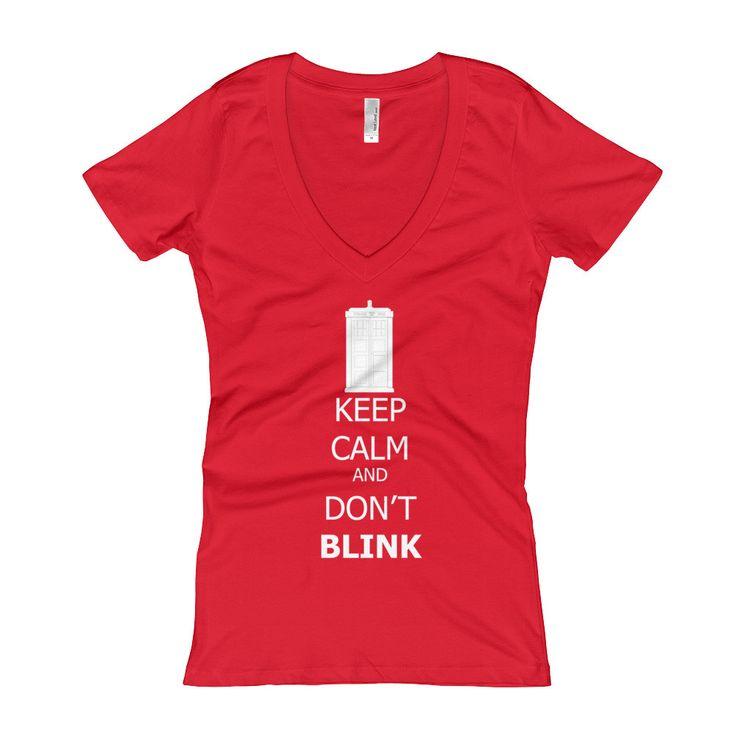 Keep Calm and Don't Blink White Lettering Women's V-Neck T-shirt