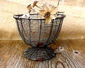 Vintage Wire Basket with Wicker Rim  Antiques French Primitive Storage