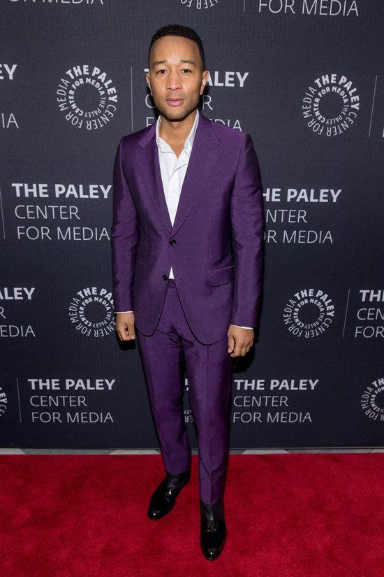 John Legend : Gucci Purple Suits / Bruno Magli 'Risoli' Boots