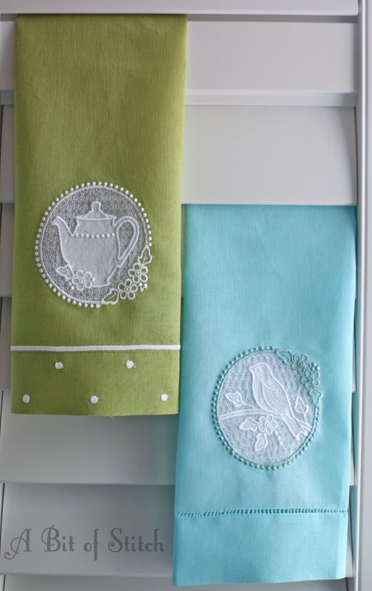 Dainty tea towels, cut-away lacy windows! Towels from All About Blanks Designs by A Bit of Stitch