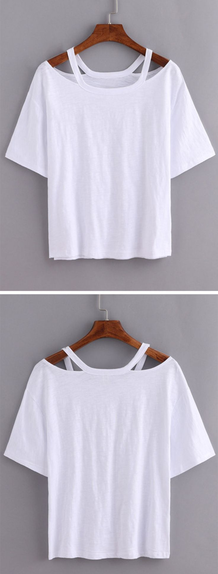 Cutout Loose-Fit White T-shirt with