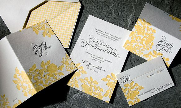 Rhon Letterpress Invitation Suite. Ivory and yellow with Light black calligraphy writing and a yellow patterned envelope liner.