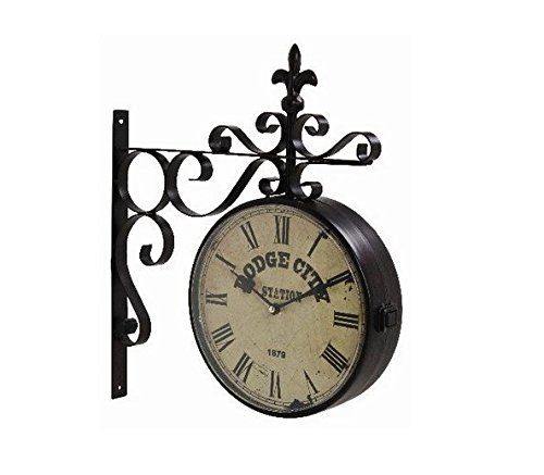 hanging double sided clock on bracket dodge city station train steam punk wall