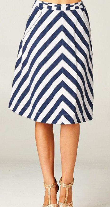 Chevron chambray skirt
