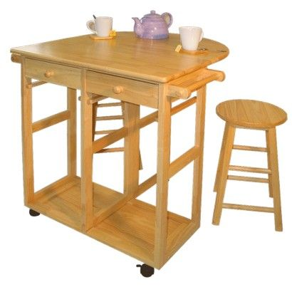 3 Piece Breakfast Cart Set with 2 Stools - Natural  sc 1 st  Pinterest & 58 best Kitchen Islands Carts Tables u0026 Stools images on ... islam-shia.org