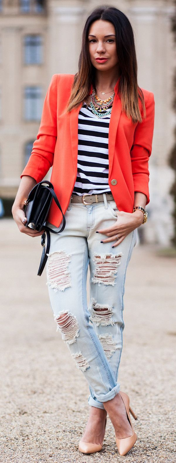 ripped jeans and bold blazer