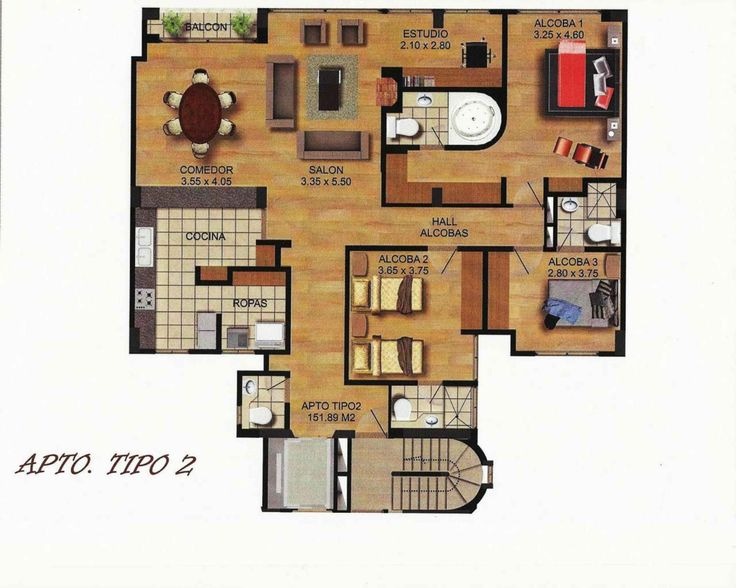 Plano apartamento 151 m2 construidos 3 habitaciones for Planos de banos