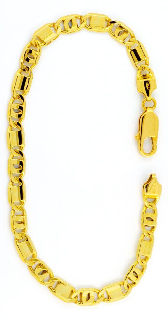 Foto 2, Gelbgold Armband 750, Pfauenauge Plättchen, Luxus! Neu!, K2997