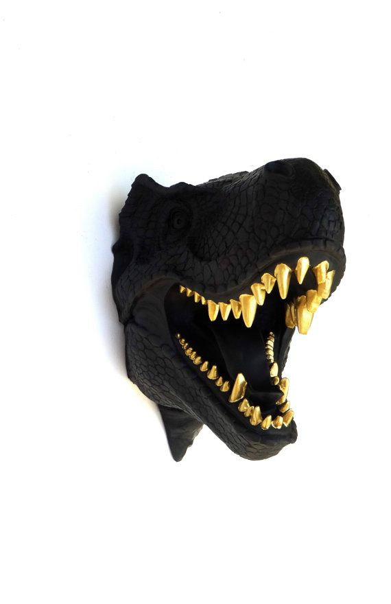 What a unique gift idea for a dinosaur fanatic! This matte black t-rex head is a…