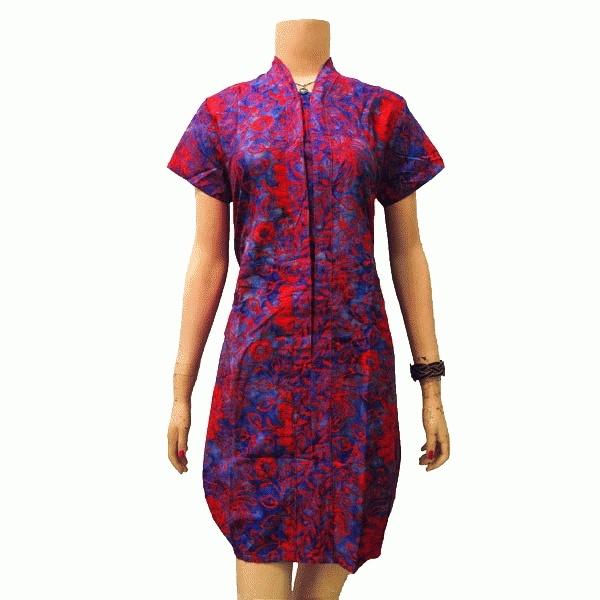 Dress Batik Model Balon Kerah V Lengan Pendek Fashions