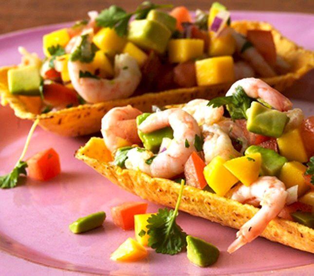 FREDAGSTACO Oppskrift på tacoskjell med reker, mango og avokado