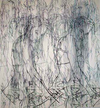 """Eight Women in White,"" by Ghada Amer, 2004, acrylic, embroidery and gel medium on canvas"