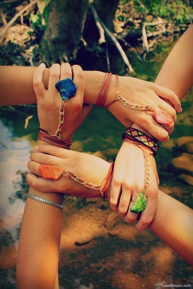 One for All and All for One friendship friends jewelry hands hippie bff forever boho four