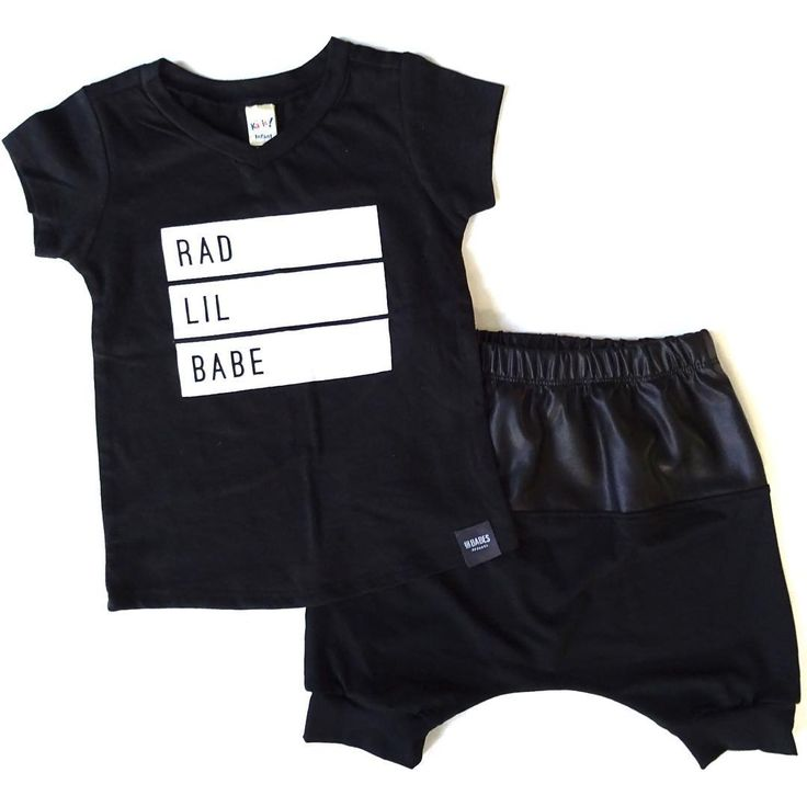 RAD BABE T-Shirt, Bamboo Crop Harems, Bamboo Shorts, Baby Shorts, Faux Leather, Trendy Baby Clothes, Hipster Baby Clothes, Streetwear, Kids Fashion